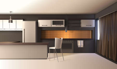 Modern kitchen interior realistic composition with studio apartment furniture cupboard cabinets and wooden table with shadows vector illustration Vetores