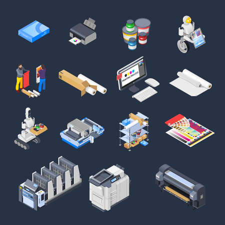 Printing house polygraphy industry isometric icons set of isolated computer peripherals printer consumables paper and furniture vector illustration 向量圖像