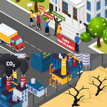 Global warming isometric horizontal banners with street manifestation for save planet, factory co2 emissions isolated vector illustration