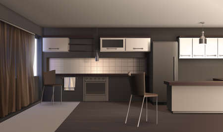Modern kitchen interior realistic design composition with dark coloured furniture carpet and curtain with shadows vector illustration Vektoros illusztráció