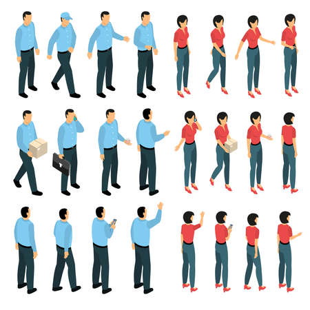 Man and woman used in business creation set with male and female figurines in various views isometric isolated vector illustration