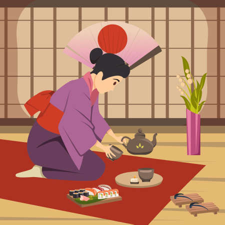 Japanese traditional tea ceremony ritual performed by woman on floor mat national symbols background poster vector illustration