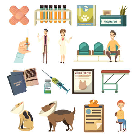 Compulsory vaccination orthogonal icons set with hand holdinig syringe pets patients medical assistaants vet isolated vector illustration Vetores
