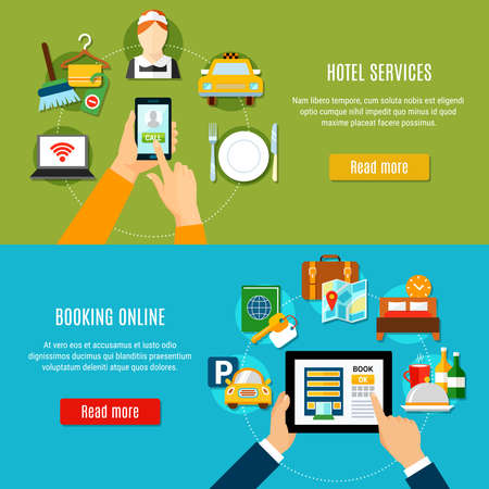 Online booking horizontal banners with elements of hotel services and gadget icons flat vector illustration