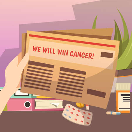 Winning against cancer strategic programm orthogonal composition with plan steps papers in hand and pils vector illustration