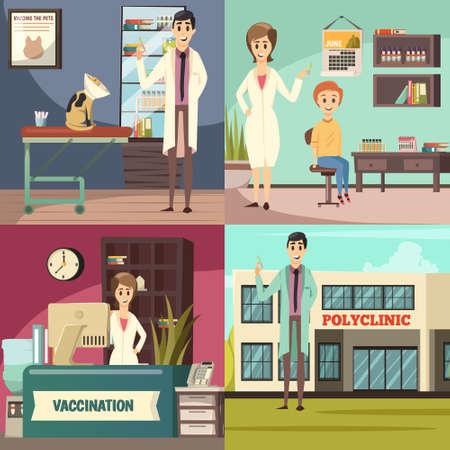 Compulsory mandatory vaccination orthogonal icons concept square with pet in vet practice boy in polyclinic vector illustration