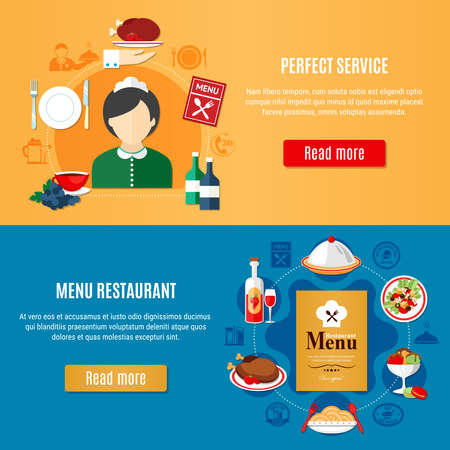 Horizontal banners set with various restaurant dishes and female waiter silhouette flat isolated vector illustration