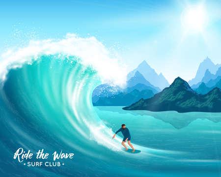 Surfer and big ocean wave on rocks background, sun and blue sky, natural landscape vector illustration Vecteurs
