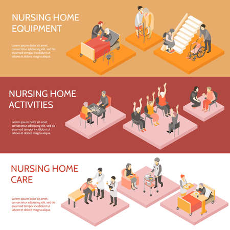Nursing home 3 horizontal infographic elements isometric banners set with equipment and daily activities isolated vector illustration Vektoros illusztráció