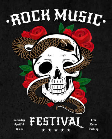 Rock music festival poster with snake in skull, red roses with leaves on black background vector illustration
