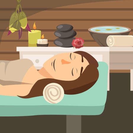 Natural cosmetology flat background with young woman lying on massage bed in spa salon near aroma candles and stones vector illustration