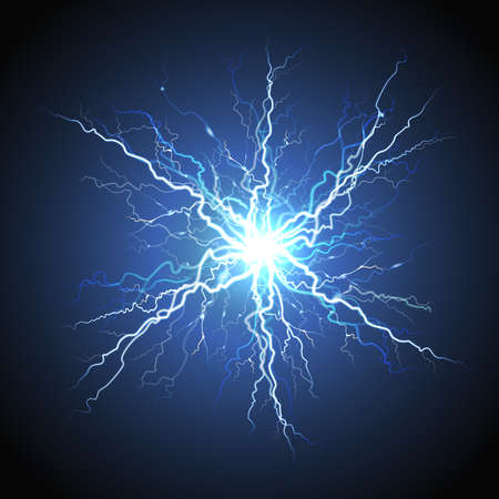 Electric lightning bright luminous starburst atmosphere phenomenon on night sky blue decorative background realistic image vector illustration