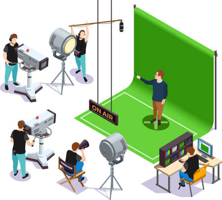 Operators shooting actor on green background and director giving instructions cinematograph isometric composition 3d vector illustration