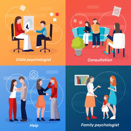 Psychologist counseling people 2x2 design concept with flat human characters of family couch doctor at consultation vector illustration