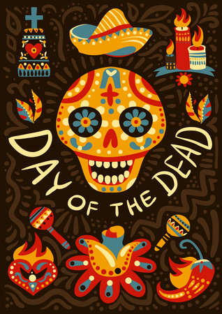 Mexican day of dead midnight festivities decorative background poster with traditional colorful ornamental skull symbol vector illustration Vektorgrafik