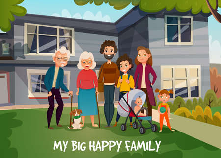 Happy family portrait with parents, kids, grandmother, grandfather and dog on house background in summer vector illustration
