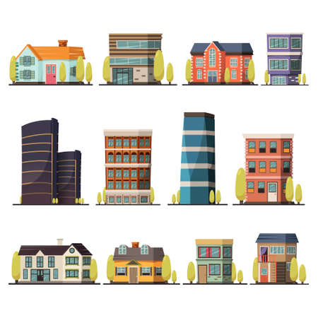Orthogonal decorative icons set of living buildings including urban towers and village cottages isolated flat vector illustration