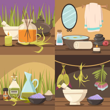 Natural cosmetology 2x2 design concept with aroma therapy spa procedure thalassotherapy elements flat vector illustration