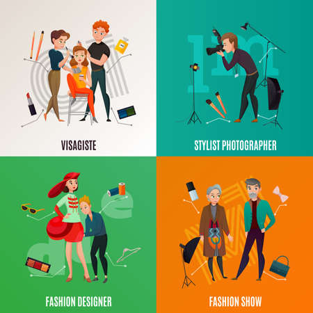 Fashion industry concept with models during show, visagiste, photographer with equipment, designer with apparel isolated vector illustration