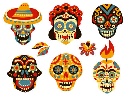 Mexican day of dead traditional colorful ornamental skull symbols icons collection with mask in sombrero isolated vector illustration Vektorgrafik