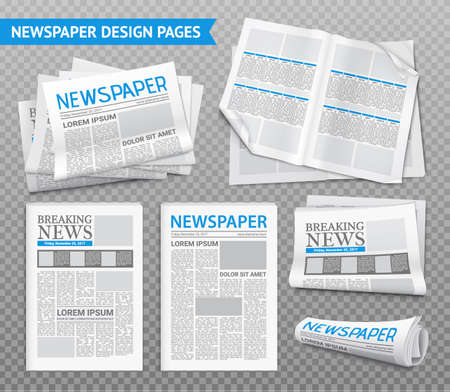 Set of newspaper design pages with breaking news on transparent background isolated realistic vector illustration