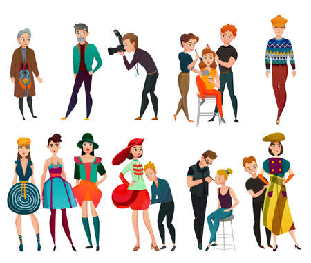 Set of people in fashion industry including models, designer, stylist photographer, makeup artist isolated vector illustration
