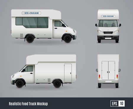 Food trucks realistic ad template mockup set with isolated views of wagon commercial vehicle with shadows vector illustration Vetores