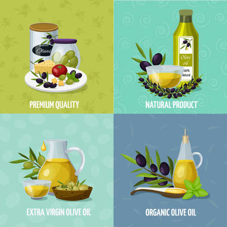 Olive oil natural organic products 4 background cartoon icons square with premium quality cans isolated vector illustration