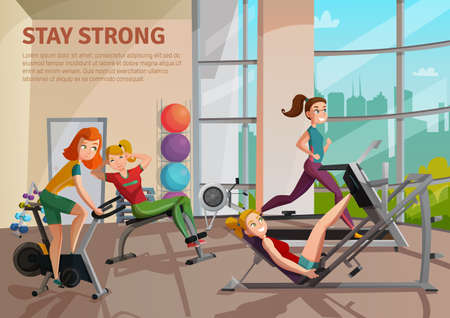 Girls doing fitness on treadmill, bike, bench in exercise room with big window, colorful balls vector illustration