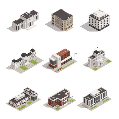 Modern and historical representative government building architectural monuments outdoor isometric view icons collection isolated vector illustration
