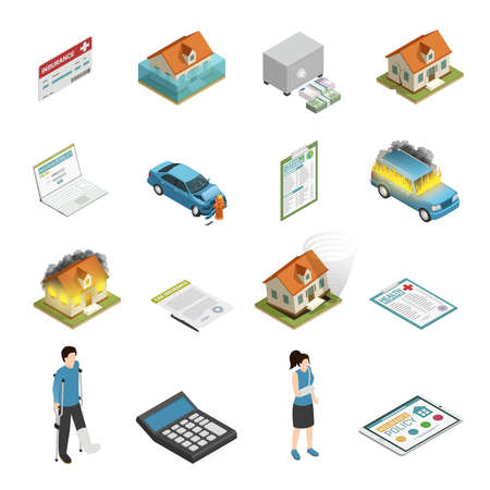 Insurance policy protection elements isometric icons collection with personal injury fire and tornado damage isolated vector illustration