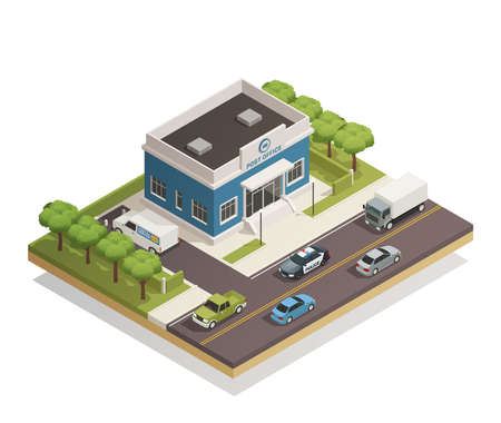 Postal mail service local post office building in busy city district street composition isometric view vector illustration