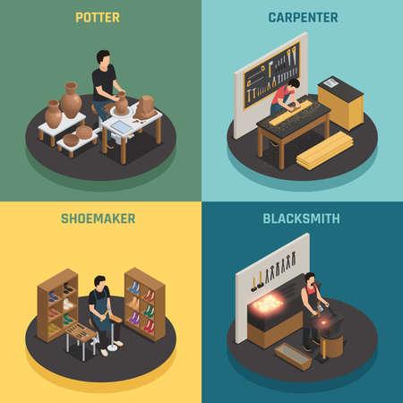 Craftsman professions 2x2 design concept with potter shoemaker carpenter blacksmith square icons isometric vector illustration