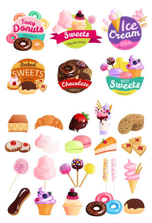 Isolated trendy sweets stickers icon set with tasty donuts sweets ice cream natural product baked sweets and other descriptions vector illustration