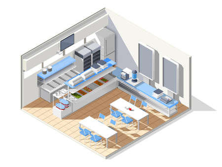 Fast food self service restaurant isometric interior composition with refectory equipment tables with chairs and furniture vector illustration Ilustracje wektorowe