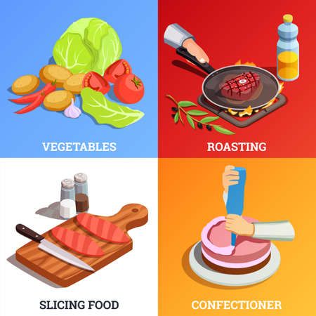 Professionlal cooking people chef pizzaiolo isometric people 2x2 design concept with various dishes and text captions vector illustration