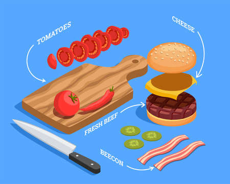 Professional cooking people chef pizzaiolo isometric people composition with images of cheeseburger filling raw food slices vector illustration
