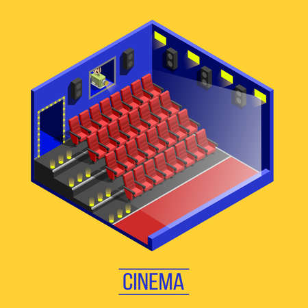 Isometric movie shooting background with indoor cinema auditorium red seats stairs and window to projection room vector illustration