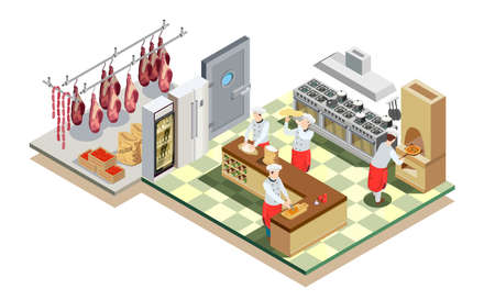 Professional cooking people chef pizzaiolo isometric people composition with big restaurant kitchen environment kitchen equipment and workers vector illustration