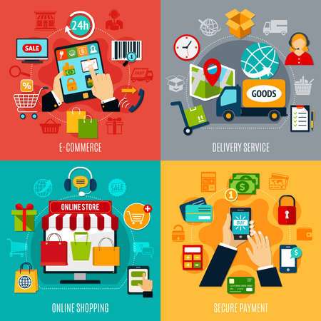 E-commerce flat design concept with delivery service, online shopping, secure payment, electronic technologies isolated vector illustration Ilustracje wektorowe