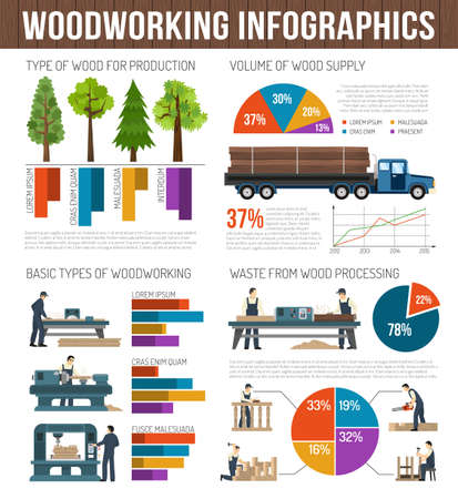 Woodworking infographics composition with images of trees trucks machinery and equipment with text and circular graphs vector illustration Vektorgrafik