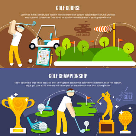 Golf competition horizontal banners with players, green course with flags, clubs and balls, trophies isolated vector illustration