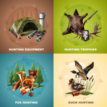 Hunting design concept with equipment and trophies, wild animals including fox and ducks isolated vector illustration