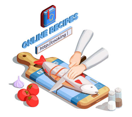 Professional cooking people chef pizzaiolo isometric people composition with human hands gilling fish with website address vector illustration Vettoriali