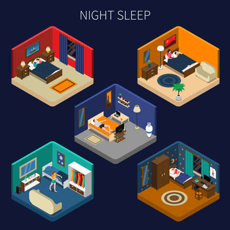 Night sleep set of isometric compositions with good rest and disorders on dark background isolated vector illustration