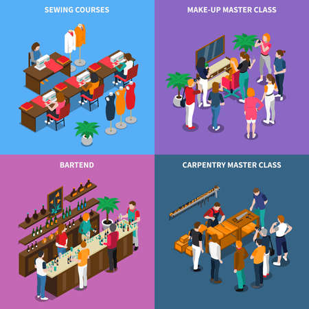 Isometric concept with master class for carpentry and makeup, sewing and bartenting courses isolated vector illustration Ilustración de vector