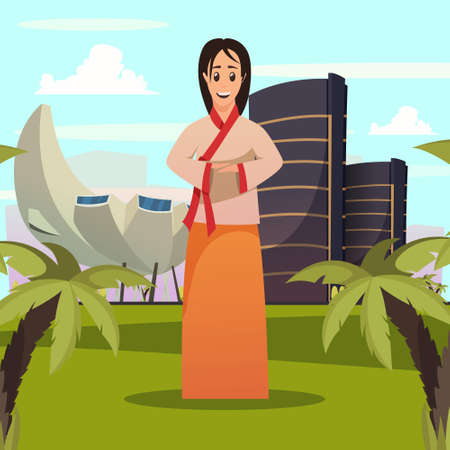 Singapore tourist attractions orthogonal poster with welcoming woman in national clothing and sightseeing landmarks background vector illustration