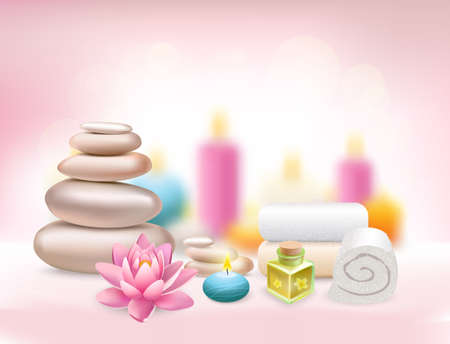 Spa realistic rose composition with aroma candles white towels pearl stones and lotus flower vector illustration