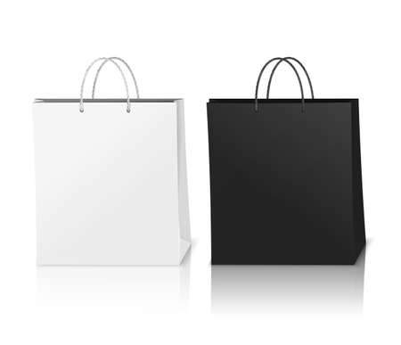 Black and white shopping bags mockup realistic composition with shadows in 3d style vector illustration