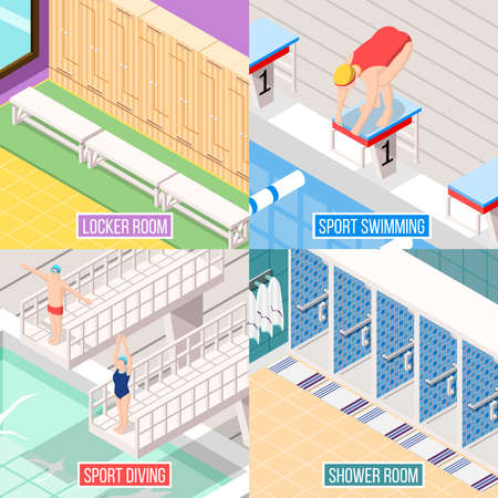 Isometric swimming pool 2x2 design concept with images of athletes and elements of indoor interior facilities vector illustration